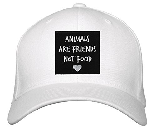 Animals Are Friends Not Food Hat - Adjustable Cap (White)