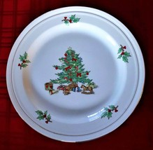 "CHRISTMAS DINNER PLATE TIENSHAN HOLIDAY HOSTESS 10.5"" Tree Gold Gilt Accent - $6.65"