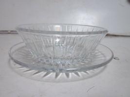 Vintage Val St Lambert Crystal Glass Ribbed Sides Bowl & Under Plate - $9.99