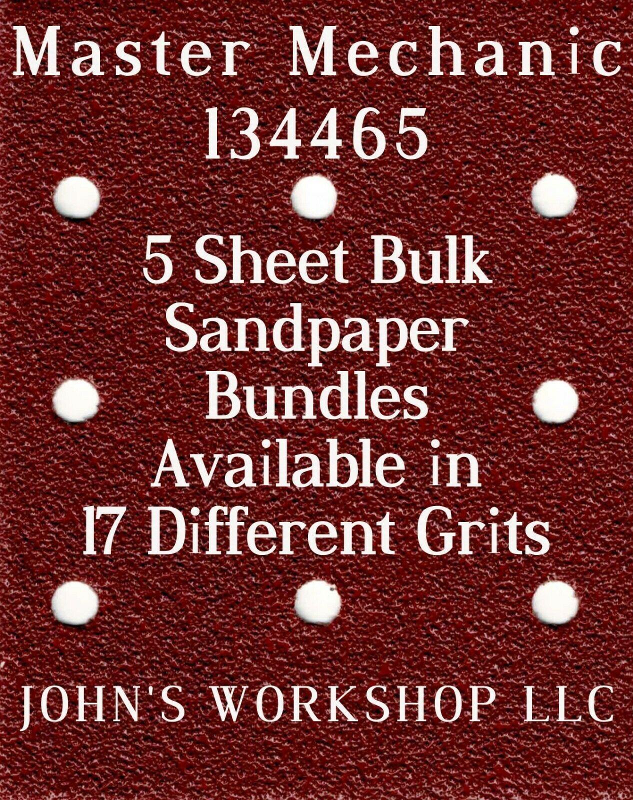 Master Mechanic 134465 - 1/4 Sheet - 17 Grits - No-Slip - 5 Sandpaper Bulk Bdls - $7.14