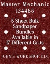 Master Mechanic 134465 - 1/4 Sheet - 17 Grits - No-Slip - 5 Sandpaper Bu... - $7.14