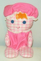 Vintage Fisher Price Pink Gingha Check Rattle Head Doll Dolly Toy Plush ... - $14.99
