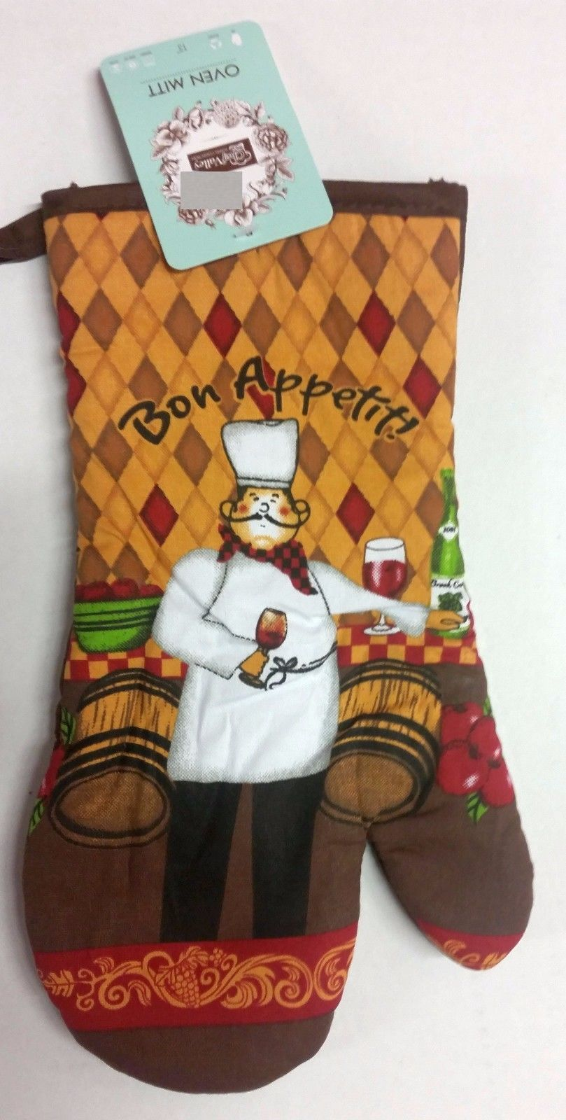 "Jumbo Printed Kitchen Oven Mitt (13"") FAT CHEF & WINE BARRELS w/brown back by CV"
