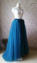 PEACOCK BLUE Extra Long Women's Tulle Puffy Skirt High Waist Tulle Bridal Skirt  image 3