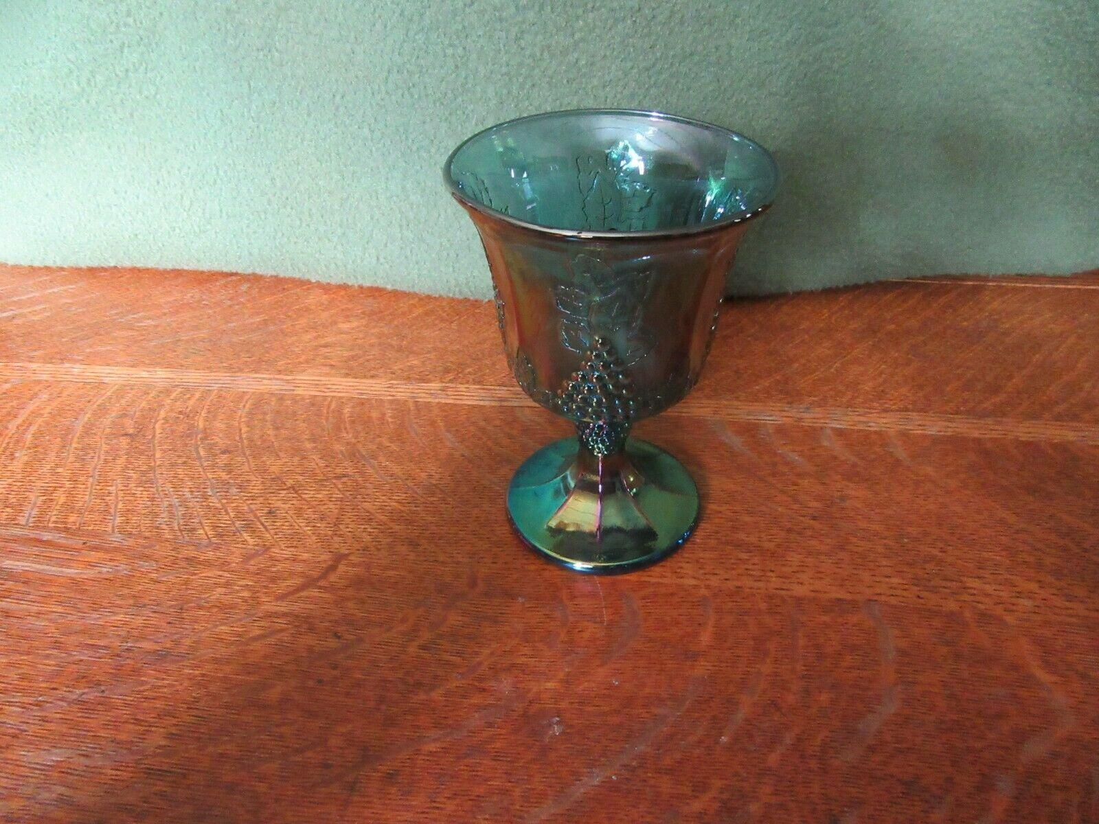 Vintage Iridescent Blue Carnival Glass Goblet Candle Holder-Grape image 2