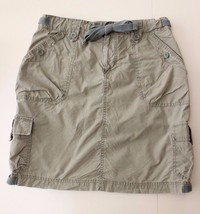 GAP Ladies Surplus Poplin Olive Army Green Skirt Size 8 w/ Tie Belt & 6 Pockets - $11.88