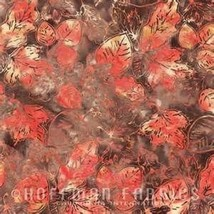 Coral & Brown Batik-Leaves-Gravel Color-Hoffman... - $9.95