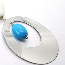 SILVER 925 NECKLACE PINK, AGATE WHITE UNDULATED, TURQUOISE, OVAL PENDANT, 75 CM image 4