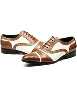 Bespoke Two Tone Cap Toe Shoes,Leather Shoes,Dress Shoes - $159.97+
