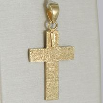 CROSS PENDANT YELLOW GOLD WHITE 750 18K, SQUARED AND CARVED, MADE IN ITALY image 3
