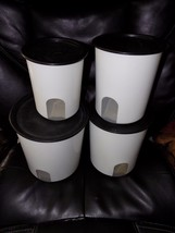 Tupperware Original One Touch Reminder Canisters, Set of 4, Black EUC - $72.80