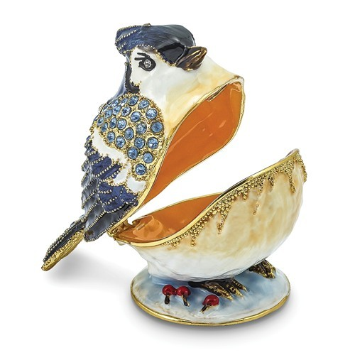 Bejeweled Crystal Enameled Bluejay Trinket Box