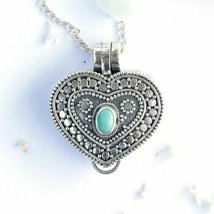 Turquoise Locket Necklace from Bali artist, nice handmade Sterling Silve... - $66.89