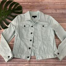 Talbots Mint Green Denim Jacket Size S Jean Pastel Light Cotton Blend Solid - $35.63