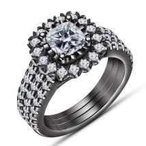 Black Rhodium Plated 925 Silver Cushion Cut White CZ Women's Engagement Ring Set - $130.99
