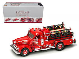 1958 Seagrave 750 Fire Engine Truck Red with Accessories 1/24 Diecast Mo... - $112.18