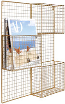 MyGift 3-Compartment Modern Brass Metal Mesh Wall Mounted Magazine Rack - $90.70