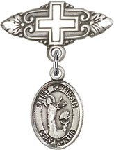 Sterling Silver Baby Badge with St. Kenneth Charm Pin with Cross 1 X 3/4... - $57.89