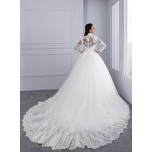 High Victorian Lace Neckline Illusion Back Long Sleeve Luxury Lace Ball Wedding  image 5