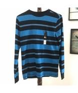 NEW Hawk Boys Size L Black Blue Striped Long Sleeve Crew Neck T Shirt  - $15.76