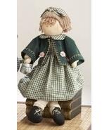 Primitive Doll 41384-Sitting Girl Green Plaid Dress  - $17.95