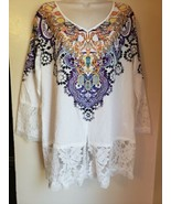S93 NWT CBR Geometric White Dressy Pullover Shirt Lace Accents Lightweig... - $14.52