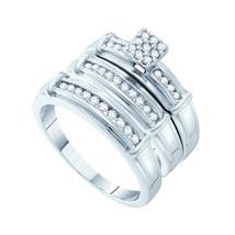 14k White Gold His Hers Round Diamond Cluster Matching Bridal Wedding Ring Set - $950.00