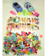 HUGE LOT of Polly Pocket 24 Dolls 2 Cars Rubber Clothes Shoes & Some Fur... - $74.45