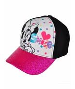 New Disney Minnie Mouse Girls Hat Baseball Cap Purple Glitter Smile Fits... - $10.34