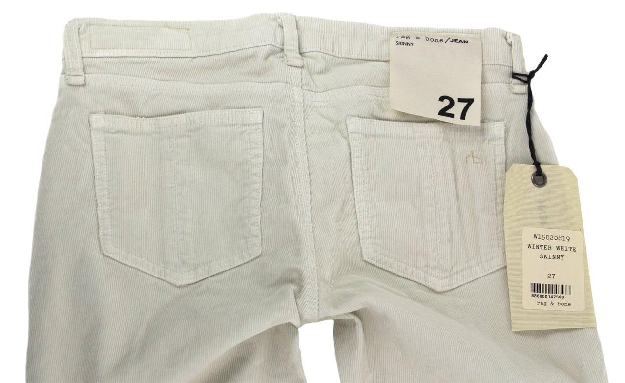 NEW NWT RAG & BONE WOMEN'S SLIM SKINNY CORDUROY JEANS PANTS CREAM  W1502819