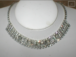 1950's Vintage Rhinestone Choker Necklace - $32.67