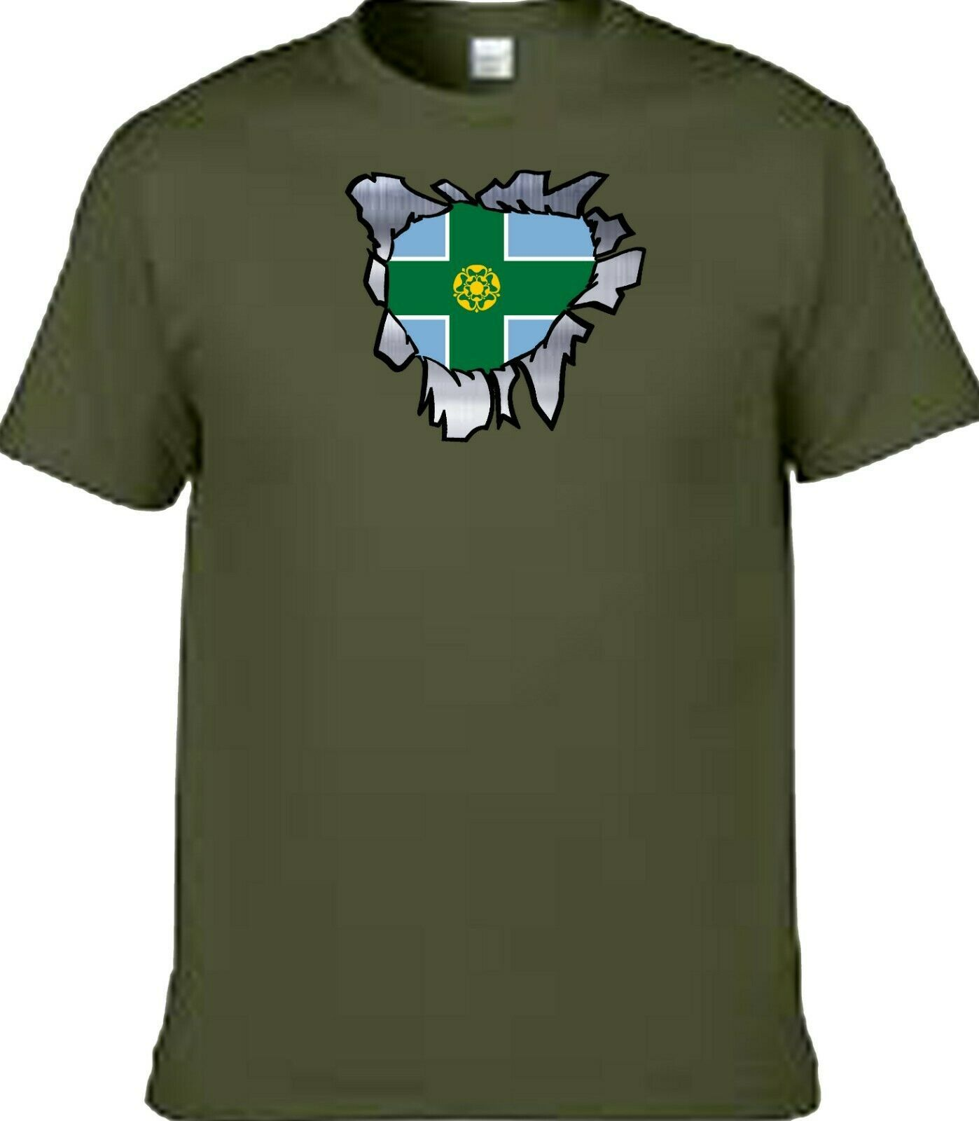 Derbyshire t shirt iron on badge or stickers