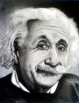 Original Artwork Charcoal Drawing ''Albert Einstein'' 9 x 11 Inches Framed  - $600.00