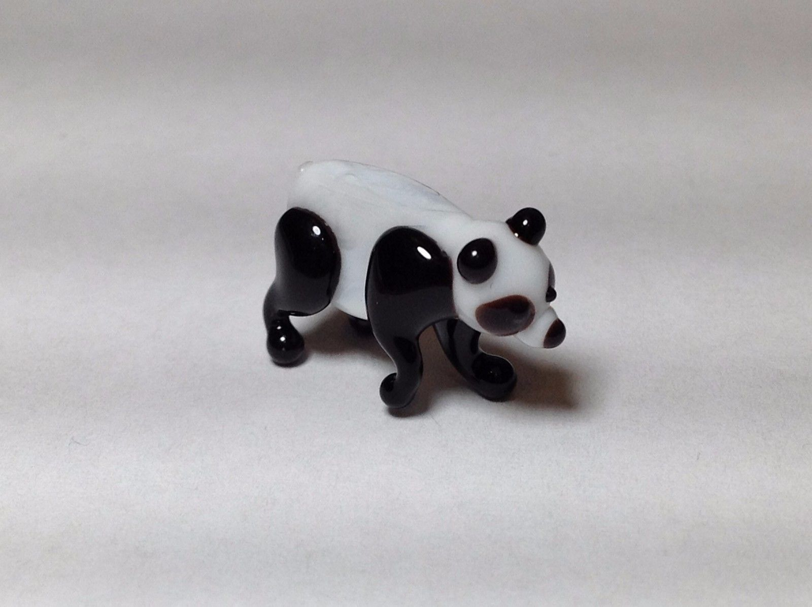 Miniature Glass  Panda bear  Handmade Blown Glass Made USA