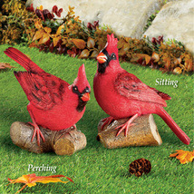 Hand-Painted Resting Cardinal on Log Outdoor Garden Statue, Perching - $10.18