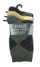 POLO RALPH LAUREN NEW KIDS BOYS 3 PAIRS ARGYLE CREW DRESS SOCKS 4-7 - $10.88