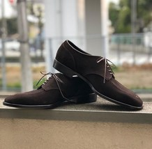 Handmade Men's Chocolate Brown Lace Up Suede Dress/Formal Oxford Shoes image 4
