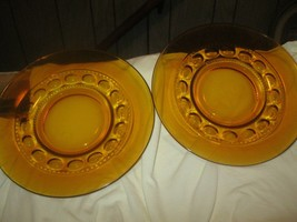 KINGS CROWN 2 AMBER THUMBPRINT  8 IN LUNCHEON PLATES indiana glass - $6.92