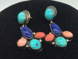 Navajo JJM Julia Martinez Sterling Silver Turquoise SemiPrecious Stone E... - $56.00