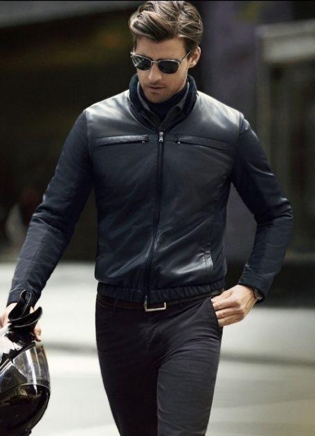 New Men's Genuine Lambskin Leather Jacket  Slim fit Biker Motorcycle jacket-G30