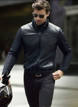 New Men's Genuine Lambskin Leather Jacket  Slim fit Biker Motorcycle jacket-G30