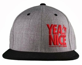 Yea Nice # Funtimes Herren Gry-Blk-Red Bestickt O/S Baseball Kappe Snapback Nwt
