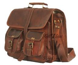 """13"""" New Real Leather Briefcase Shoulder Messenger Bag School Office Lawyer Bag - $39.60"""