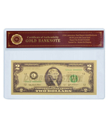 24K .999 GOLD $2 DOLLAR BANKNOTE WITH COA (CERT OF AUTHENTICITY) BU COND... - $4.99
