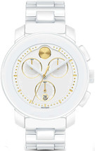 BRAND NEW MOVADO BOLD 3600187 WHITE CHRONOGRAPH CERAMIC WOMEN'S WATCH - $841.49