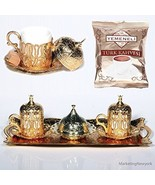 12 Pc Ottoman Turkish Greek Arabic Coffee Espresso Serving Cup Saucer Gold - $48.00