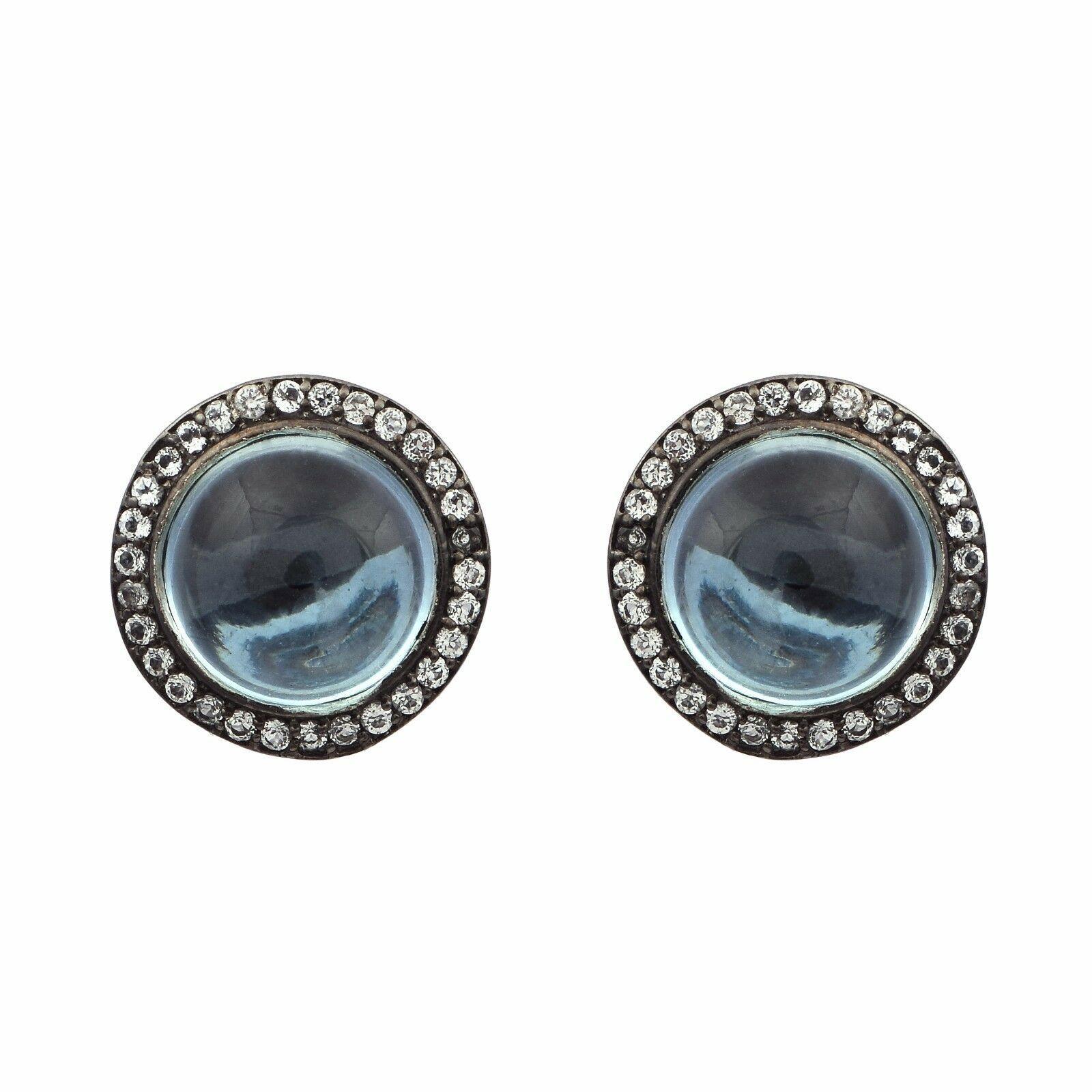 925 Sliver Round Cab Blue Topaz & White Topaz Stone Halo Cluster Wedding Earring
