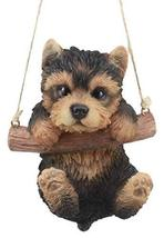 Ebros Adorable Lifelike Teacup Yorkshire Terrier Macrame Branch Hanger 5... - $22.99