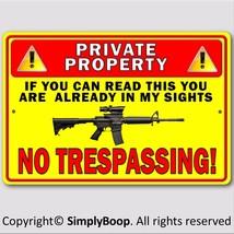 "Private Property No Trespassing Gun Owner Aluminum Security Sign 8""x12"" ... - $15.83"