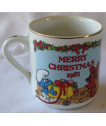 Merry Christmas Smurf 1983 Vintage Mug Collectible 2nd of Annual Limited... - $24.99
